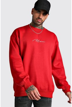Sweat-shirt oversize signature MAN, Rouge feu