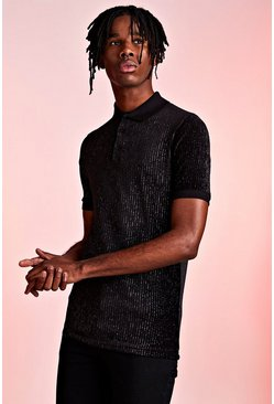 Black Metallic Ribbed Velour Party Polo In Muscle Fit