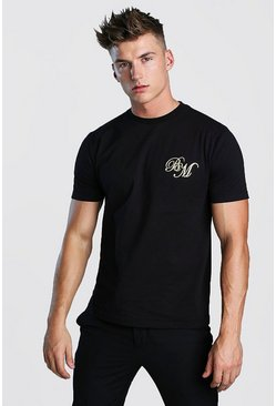 Mens Black B&M Iridescent Print T-Shirt