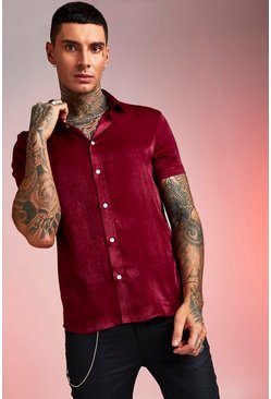 Wine Short Sleeve Satin Shirt