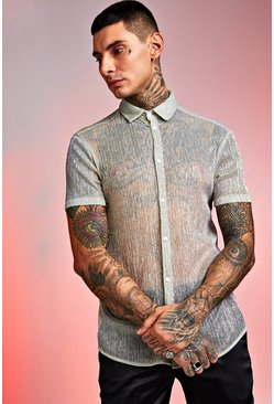 Mens Gold Short Sleeve Sheer Plisse Print Shirt