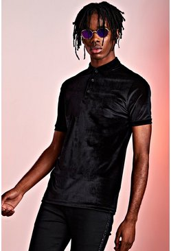 Herr Black Velour Party Polo In Muscle Fit