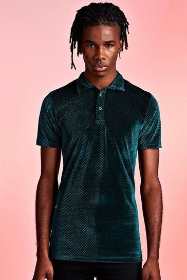 Green Textured Velour Party Polo In Muscle Fit
