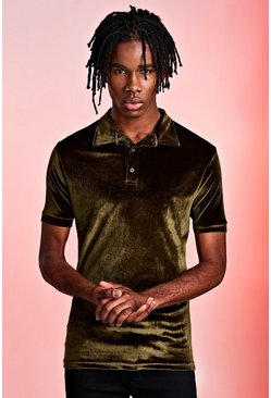 Mens Khaki Velour Party Polo In Muscle Fit