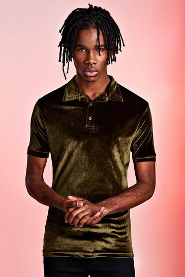 Khaki Velour Party Polo In Muscle Fit