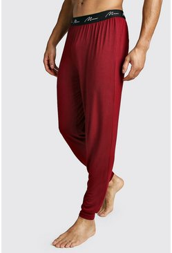 Mens Burgundy MAN Script Cuffed Pant