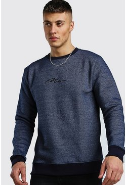 Navy MAN Signature Melerad sweatshirt