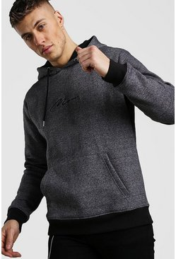 Charcoal MAN Signature Hoodie In Marl
