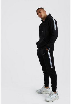 Black MAN X Abode Hooded Tracksuit With Back Print Tape