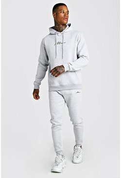 Mens Grey marl MAN X Abode Skinny Hooded Tracksuit