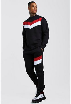 Mens Black Chevron Panel Sweater Tracksuit