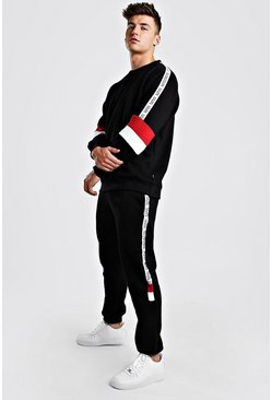 Black Colour Block Sweater Tracksuit With MAN Tape