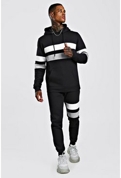 Mens Black Contrast Panel Hooded Tracksuit