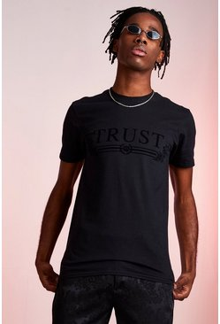 Black Trust Flock Print T-Shirt