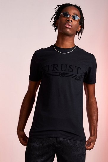 Mens Black Trust Flock Print T-Shirt