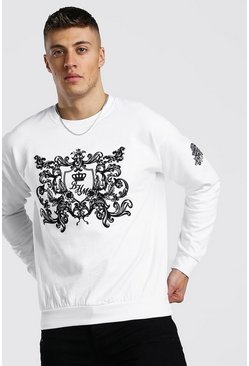 Mens White B&M Flock Print Sweatshirt