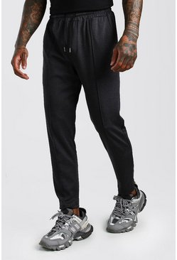 Black Smart Cropped Jogger Trouser With Pin Tuck