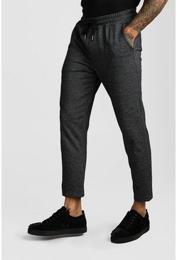 Black Jacquard Skinny Fit Cropped Jogger Trouser
