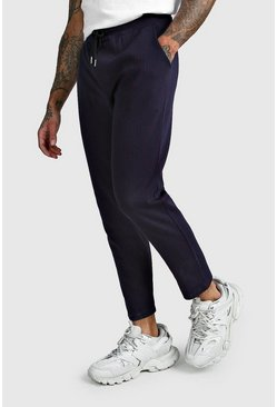 Navy Pinstripe Cropped Smart Jogger Pants