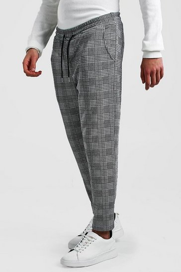 Black Dogstooth Check Smart Cropped Jogger Trouser