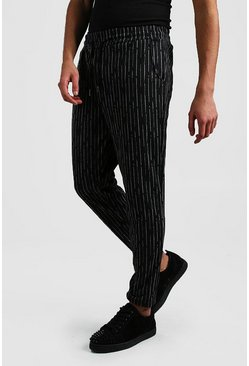 Charcoal Broken Stripe Smart Cropped Jogger Trouser