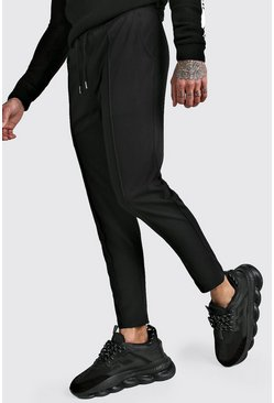 Black Plain Smart Jogger Trouser Pintuck