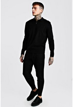 Black Knitted Long Sleeve Polo And Pin Tuck Jogger Set