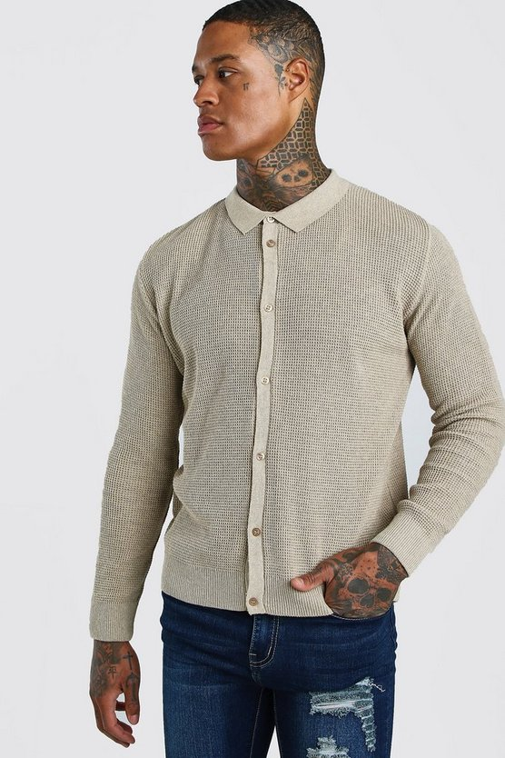 Stone Button Through Knitted Shirt
