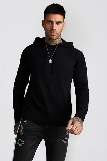 Mens Black Over The Head Knitted Hoodie