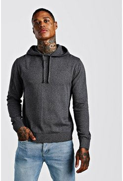 Herr Charcoal Over The Head Knitted Hoodie