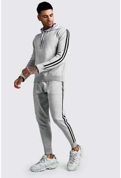 Ensemble sweat à capuche en maille à enfiler et jogging, Gris