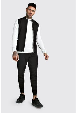 Black Knitted Sleeveless Bomber & Jogger Set