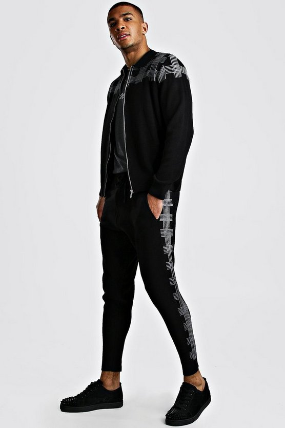 Black Knitted Check Bomber And Jogger Set