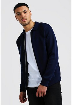 Mens Navy Smart Knitted Bomber