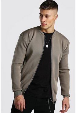 Mens Taupe Smart Knitted Bomber