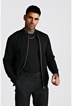 Herr Black Smart Knitted Bomber