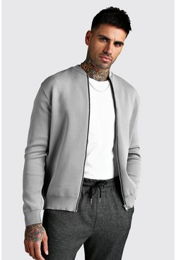 Mens Grey Smart Knitted Bomber