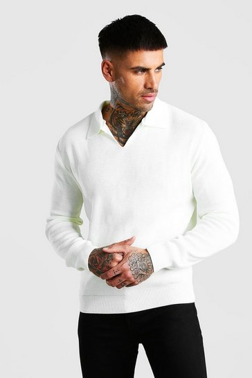 Ecru Long Sleeve Notch Neck Knitted Polo
