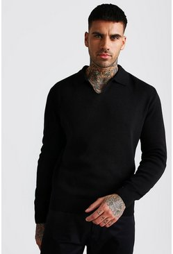 Black Long Sleeve Notch Neck Knitted Polo