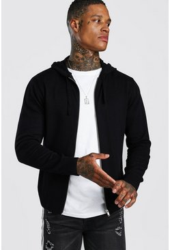 Mens Black Zip Through Knitted Hoodie