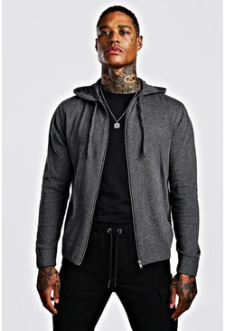 Mens Charcoal Zip Through Knitted Hoodie