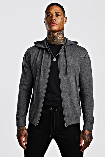 Charcoal Zip Through Knitted Hoodie