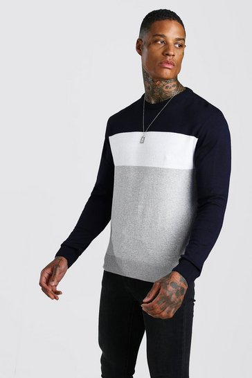 Mens Navy Colour Block Knitted Jumper