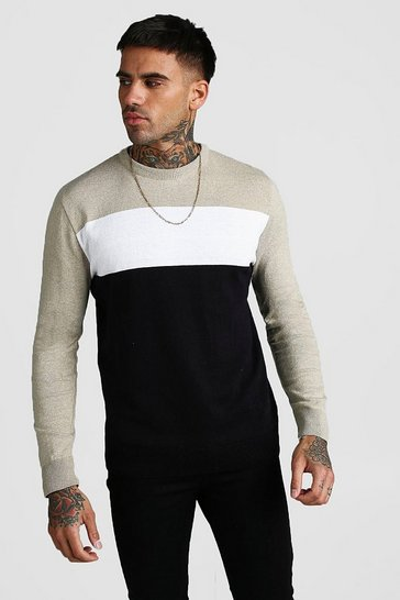 Stone Colour Block Knitted Jumper
