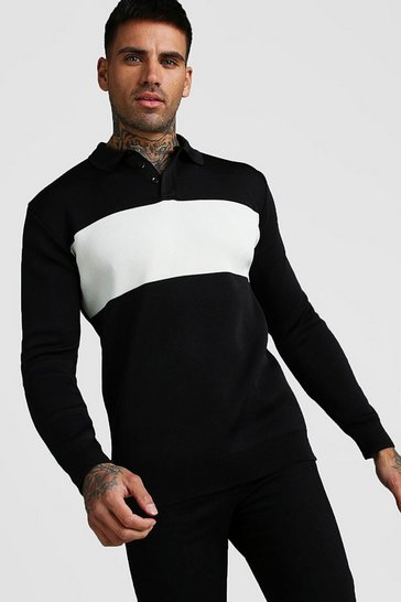 Mens Black Knitted Long Sleeve Colour Block Polo