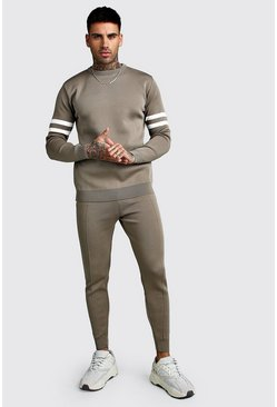 Mens Taupe Knitted Sweater & Jogger Set