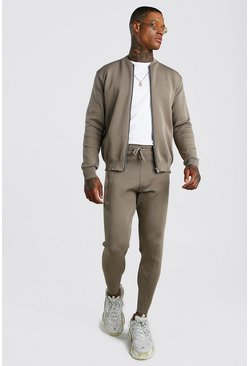 Mens Taupe Smart Knitted Bomber & Jogger Set