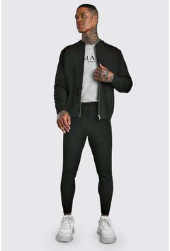 Mens Black Smart Knitted Bomber & Jogger Set