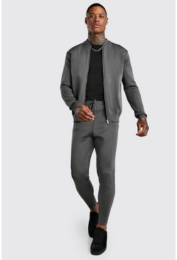Mens Charcoal Smart Knitted Bomber & Jogger Set