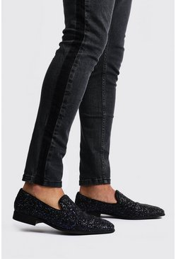 Mens Black Glitter Loafer
